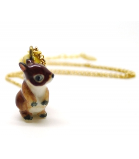 Tiny Squirrel porcelain necklace