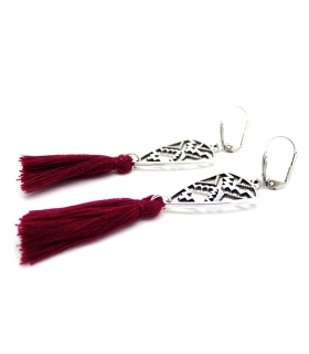 Burgundy African Shield earrings