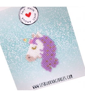 Broche Miyuki Licorne mauve - Broche créateur - Les Bijoux Acidules
