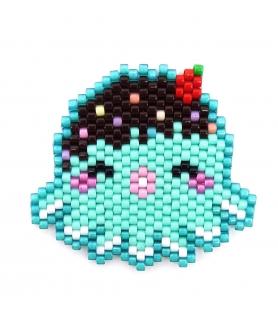 Broche Miyuki Octopus bleu/mint - Broche créateur - Les Bijoux
