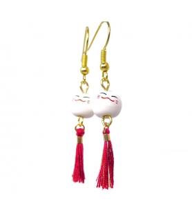 Boucles d'oreilles Maneki Neko - Bijoux porcelaine - Les Bijoux Acidules
