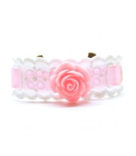 Bracelet dentelle blanc et rose - Les Bijoux Acidules