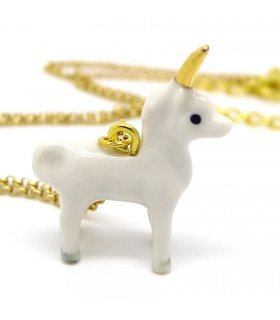 Tiny Unicorn porcelain necklace