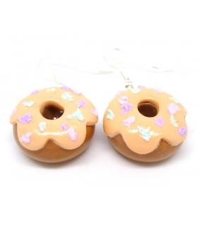 Boucles d'oreilles donuts pêche - Bijoux créateur gourmands
