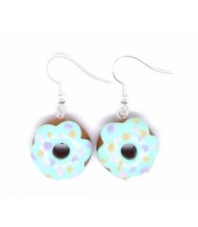 Boucles d'oreilles donuts mint - Bijoux créateur gourmands