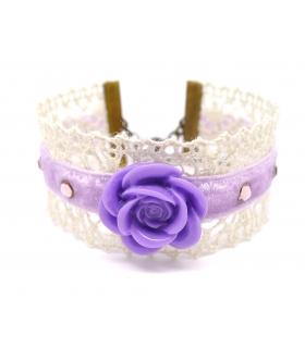 Bracelet rose mauve - Les Bijoux Acidules