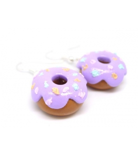 Boucles d'oreilles donuts mauves - Bijoux créateur gourmands