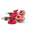 Boucles d'oreilles Santa Muerte rose foncé