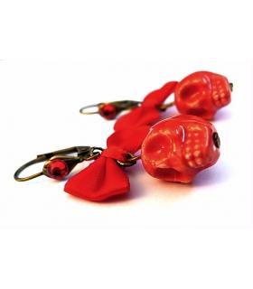 Boucles d'oreilles Santa Muerte rouges