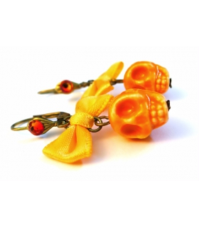 Boucles d'oreilles Santa Muerte orange