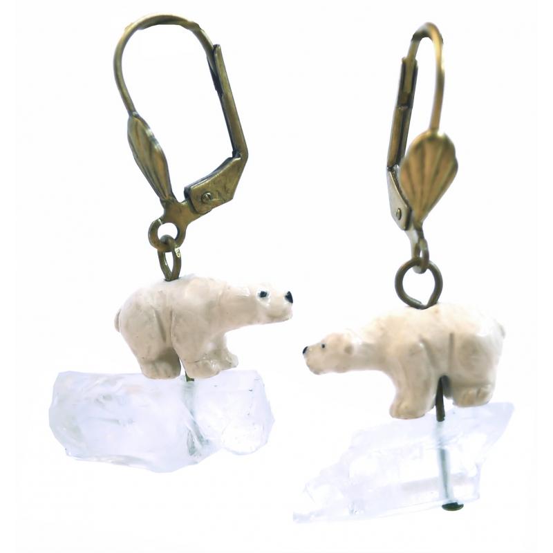 boucles d 39 oreilles ours blanc bijoux animaux. Black Bedroom Furniture Sets. Home Design Ideas