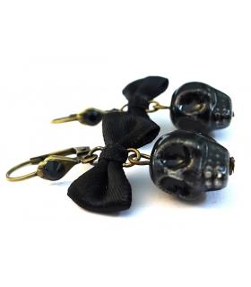 Boucles d'oreilles Santa Muerte noires