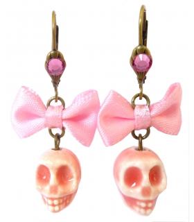 Boucles d'oreilles Santa Muerte roses