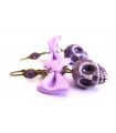 Boucles d'oreilles tete de mort violettes - Bijoux Créateur tendance