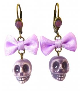 Boucles d'oreilles Santa Muerte violettes