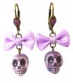 Boucles d'oreilles Santa Muerte violettes - Les Bijoux Acidules