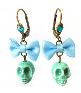 Boucles d'oreilles Santa Muerte turquoise