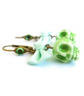 Boucles d'oreilles Santa Muerte vertes