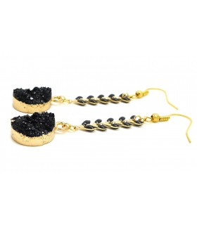 Black and gold Druzy earrings