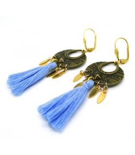 Boucles d'oreilles Boho Bleues - Les Bijoux Acidules