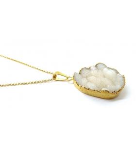 Sautoir Druzy blanc et or - Bijoux Bohème - Les Bijoux Acidules