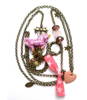Purple Unicorn long necklace