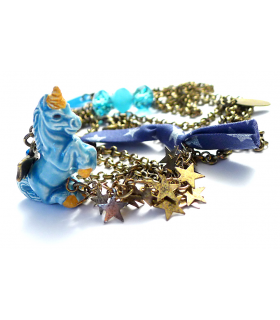 Blue Unicorn long necklace