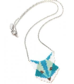 Collier Renard bleu Miyuki - Les Bijoux Acidules- collier brickstitch