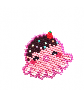 Broche Miyuki Octopus rose - Les Bijoux Acidules- Broche brickstitch