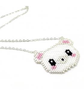Collier Ours Blanc Miyuki - Collier créateur - Les Bijoux Acidules